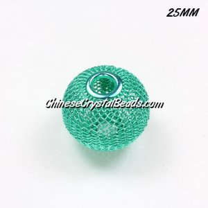 25mm Light aqua Mesh Bead, Basketball Wives, 10 pieces