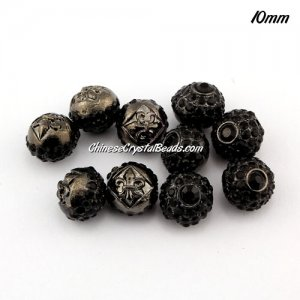 Alloy rondelle Pave disco beads, 10mm, 1.5mm hole, black, sold 10pcs