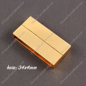 Big strong Magnetic Clasps, 6x19x38mm, Gold plated Brass, sold 1 piece