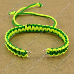 Pave chain, nylon cord, neon yellow and emerald, wide : 7mm, length:14cm