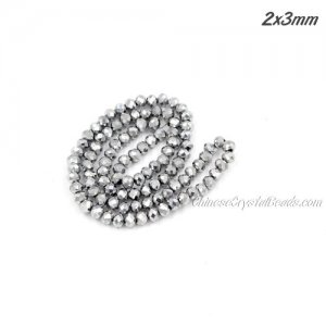140Pcs 2.5x3.5mm Chinese Crystal Rondelle Beads, platinum