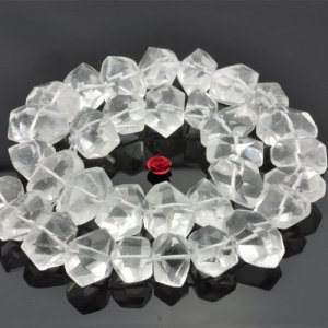 Clear rock crystal quartz 15.5 inches A grade natural gemstone faceted nugget chunks beads 11-14 mm widthx 15-19mm length