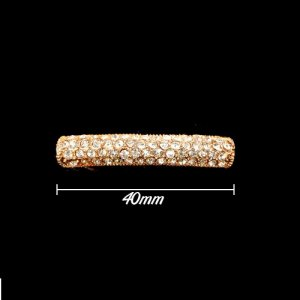 Rhinestone pave tube beads, gold-plated, 8x40mm, 1pcs