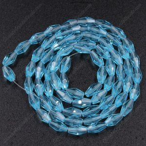 4x8mm crystal bicone beads, Aqua, about 72 beads per strand