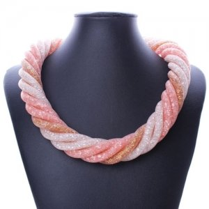 Stardust Mesh Necklace, 6 line helix necklace, mix pink , length: about 57CM