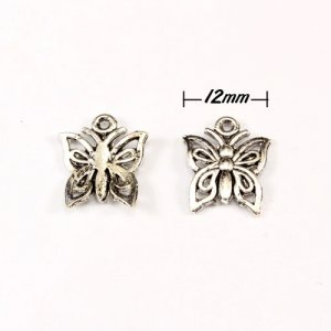 Charm, antiqued silver-finished inchpewterinch (zinc-based alloy), 12mm butterfly. Sold per pkg of 50.