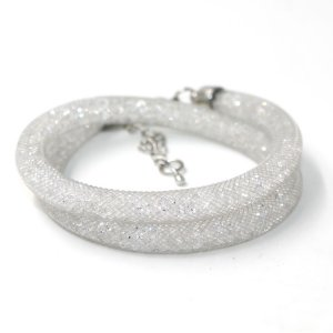 6mm wide real crystal stardust mesh bracelet or necklace, gray color