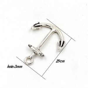 alloy ancient silver anchor fashion charm pendant, 25x29cm, hole:3mm, 1 pcs