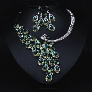 Peacock Green Crystal Rhinestone Crystal Statement Necklace - Luxury Elegant Fashion European Baroque Necklace For Party
