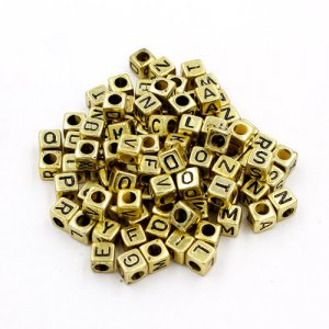 100 Pcs Acrylic Mixed Gold Alphabet Letter Cube Beads hole:3.8mm, 7mm