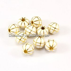 1Pcs Heavy metal spacer beads, 10mm, 2mm hole, round oil dripping earth, gold whit, sold per pkg of 10pcs