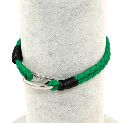Stainless steel Men's Braided Leather Bracelets Clasp, green color