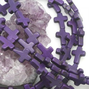 12x16mm Violet Purple Howlite Turquoise Loose Spacer Beads Cross 15.5 inch strand