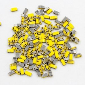 5x2.5mm chinese glass Half Tila yellow and half hematite approx 200 beads