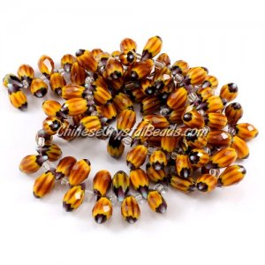Chinese Crystal Briolette Bead Strand, Sunflower, 6x12mm, 20 beads