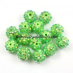 Chinese Crystal Disco Bead Acrylic lime green AB 10mm(inside), 25 beads