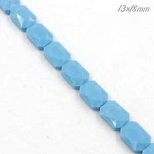 12x17mm Flat Rectangle faceted crystal beads, opaque turquoise, 1 Pc