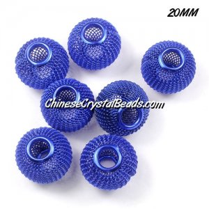 20mm Sapphire Mesh Bead, Basketball Wives, 10 pieces