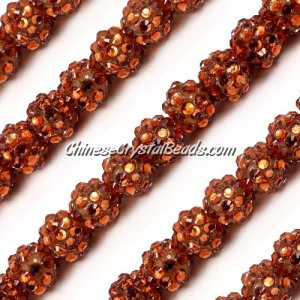 Chinese Crystal Disco Bead Acrylic brown 10mm(inside), 25 beads