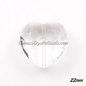 Chinese Crystal 22mm Heart Pendant/Bead, clear, 6 pcs