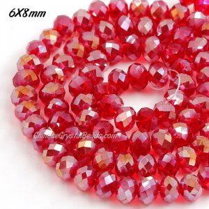 6x8mm Chinese Crystal Rondelle beads, siam AB, about 70 beads