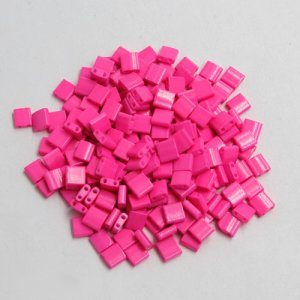Chinese 5mm Tila Square Bead, opaque hot pink, about 100Pcs