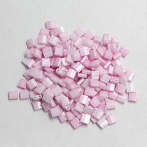 Chinese 5mm Tila Square Bead, opaque pink, about 100Pcs