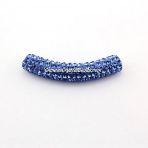 Pave Crystal Pave Tube Beads, 45mm, 4mm hole, lt sapphire, sold 1pcs