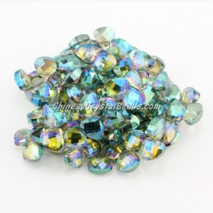 Crystal Flat Briolette beads strand ,9x10mm, green light, 20 beads