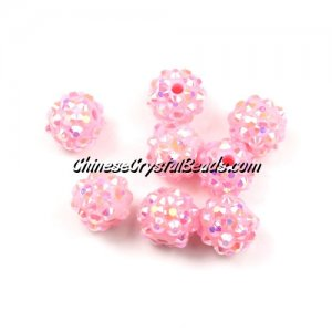 Chinese Crystal Disco Bead Acrylic pink AB 10mm(inside), 25 beads