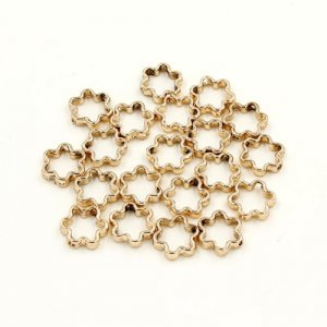 brass spacer beads, champagne gold plated brass, flower shape, 12mm, Sold per pkg of 10.