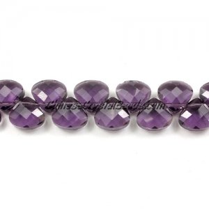 Crystal Flat Briolette beads strand ,9x10mm, violet, 20 beads