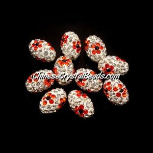 Oval Pave Beads, 9x13mm, Clay, flower, #02, sold per 10pcs bag