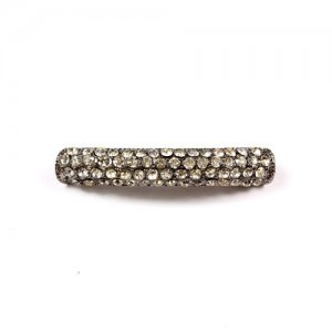 Rhinestone pave tube beads, gunmetal, 8x40mm, 1pcs