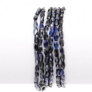 cuboid crystal beads, 2x2x5mm, black and purple light, 95pcs per strand