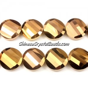 Chinese Crystal Twist Bead, 18mm, Copper 10 beads