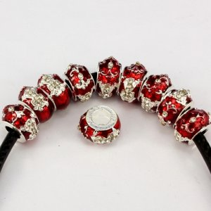 Alloy European Beads, cross, 8x13mm, hole:6mm, pave clear crystal, red painting, silver plated, 1 piece