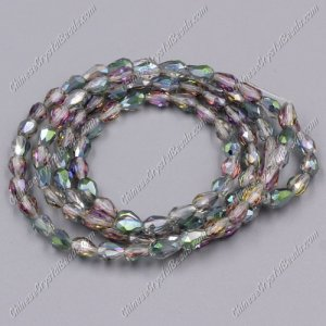 Chinese Crystal Teardrop Beads Strand, green and purple, 3x5mm, about 100 Beads