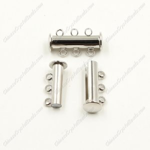 Magnetic Clasps, 3-strand, silver-plated brass, 20x6mm tube. Sold per pkg of 10.