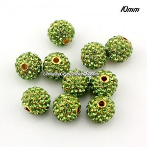 alloy pave disco beads, 10mm, 1.5mm hole, 80pcs lime green crystal stone, gold plated, sold 10 pcs