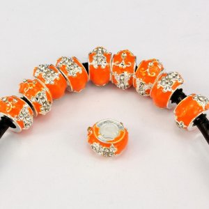 Alloy European Beads, cross, 8x13mm, hole:6mm, pave clear crystal, orange painting, silver plated, 1 piece