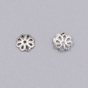 Bead cap, platinum plated iron, 7x1mm textured flower with cutouts, fits 8-12mm bead. Sold per pkg of 200.