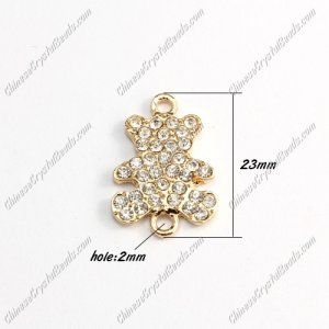 Pave Crystal Links Charms Bear, gold plated alloy, 15x23mm, 1pcs