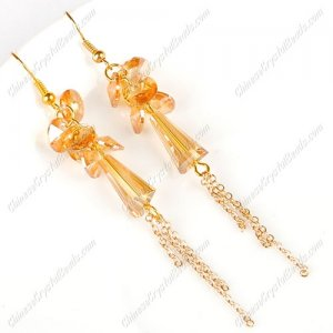 Artemis crystal beads earring, golden shadow, sold by 1 pair