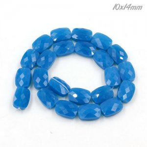 10x14mm rectangle grid faceted crystal beads, opal blue, 1 Pc