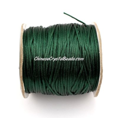 1.5mm Satin Rattail Cord thread, #07, emerald, 80Yard spool