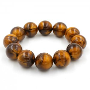 Imitation ABS Cat Eye's Beads Bracelet, Tiger eye, inside diameter:16.5cm