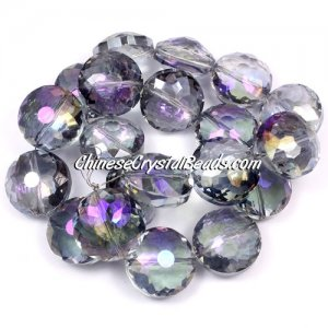 Chinese crystal round sunflower pendant, Purple fantasy, 11x18x18mm, PKG 10 pendant
