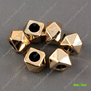 CCB Plastic Beads, golden color, multi-faceted, 16x14x10mm, hole:7mm, sold per pkg of 50pcs