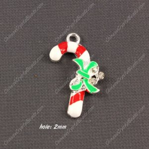 Christmas Alloy Charms pendant , lollipop,18x30mm, hole 2mm, sold 1 pcs